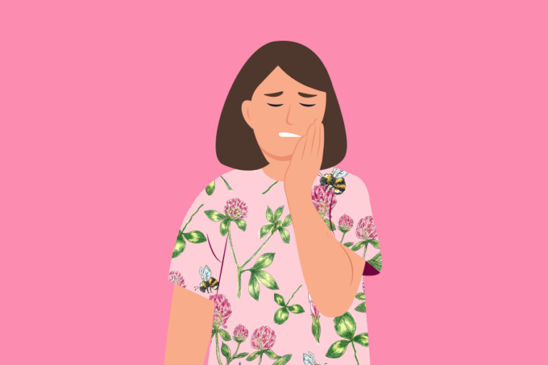 Illustration of women holding her mouth in pain